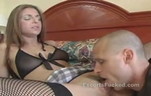 Babe in fishnet pleases by bald guy